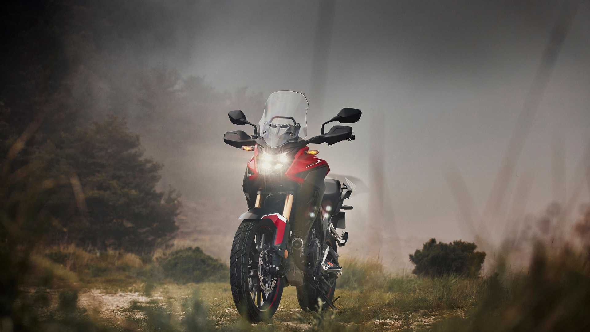 2022 honda cb500x front view illuminated red off road